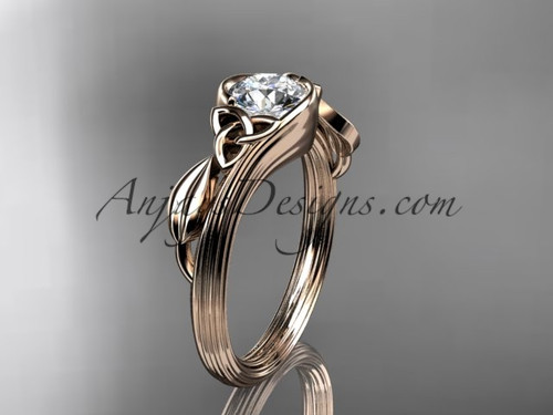 "14kt rose gold celtic trinity knot wedding ring, engagement ring with a ""Forever One"" Moissanite center stone CT7324"