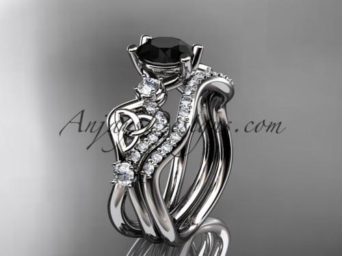 Celtic Engagement Ring Set Platinum Black Diamond Ring CT768S