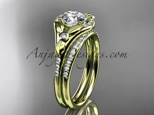 """14kt yellow gold diamond floral wedding ring, engagement set with a """"Forever One"""" Moissanite center stone ADLR126S"""