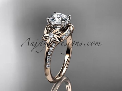 """14kt rose gold diamond floral wedding ring, engagement ring with a """"Forever One"""" Moissanite center stone ADLR125"""