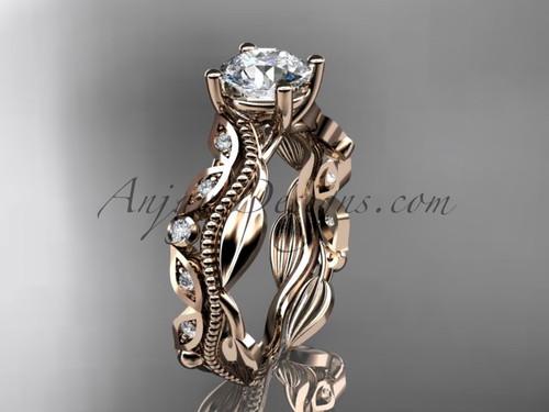 14kt rose gold diamond leaf and vine wedding ring, engagement ring ADLR342
