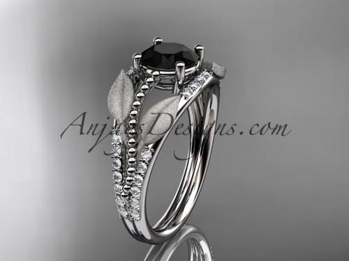 platinum diamond leaf and vine wedding ring, engagement ring with Black Diamond center stone ADLR75