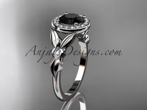 14kt white gold diamond floral wedding ring, engagement ring with a Black Diamond center stone ADLR129