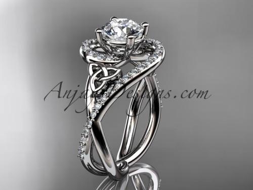14kt white gold diamond celtic trinity knot wedding ring, engagement ring CT7320