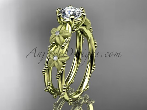 """14kt yellow  gold diamond floral, leaf and vine wedding ring, engagement ring with  """"Forever One"""" Moissanite center stone ADLR66"""