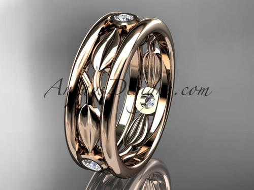 14kt rose gold diamond leaf wedding band, engagement ring ADLR401B