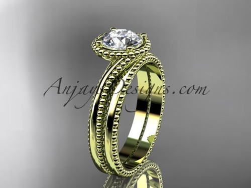 """14kt yellow gold  wedding ring, engagement set with a """"Forever One"""" Moissanite center stone ADLR389S"""
