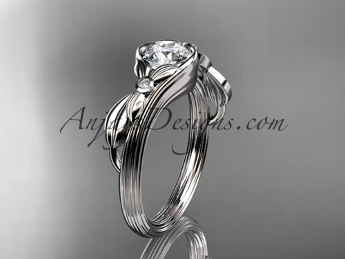 Unique 14kt white gold floral engagement ring ADLR324