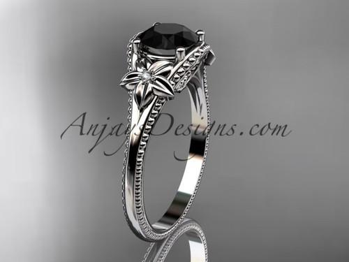 Black Diamond center Platinum Flower Wedding Ring ADLR375