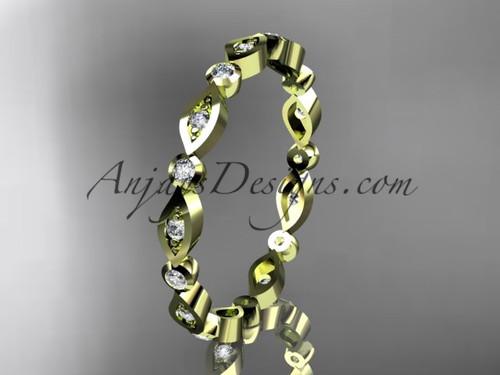 14k yellow gold diamond leaf and vine wedding band,engagement ring ADLR11B