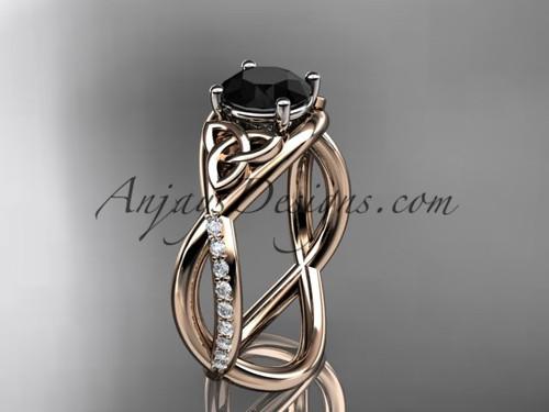 Rose Gold Celtic Knot Bridal Ring, Black Diamond Ring CT790