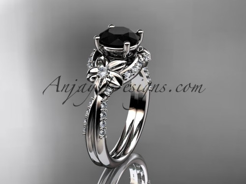 Unique 14kt white gold diamond flower, leaf and vine wedding ring, engagement ring with a Black Diamond center stone ADLR220