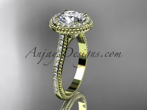 """14kt yellow gold diamond unique engagement ring, wedding ring with a """"Forever One"""" Moissanite center stone ADER97"""