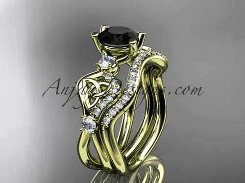 Black Diamond Wedding Ring Set Yellow Gold celtic Engagement Ring CT768S
