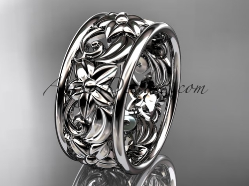 14kt white gold leaf and vine wedding band, engagement ring ADLR150G