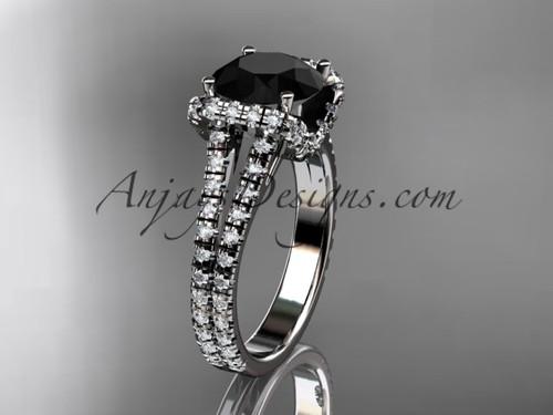 platinum diamond unique engagement ring, wedding ring with a Black Diamond center stone ADER107
