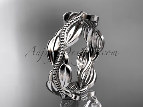 Unique platinum leaf and vine engagement ring, wedding band ADLR258G