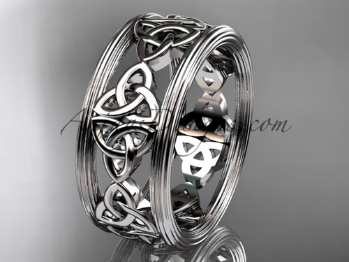 14kt white gold celtic trinity knot wedding band, engagement  ring CT7236G