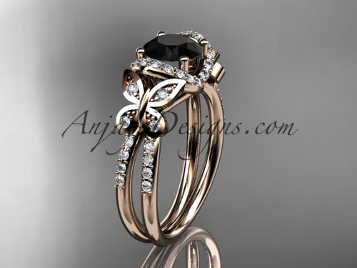 14kt rose gold diamond butterfly wedding ring, engagement ring with a Black Diamond center stone ADLR141