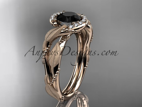 14kt rose gold diamond leaf and vine wedding ring, engagement ring with Black Diamond center stone ADLR65