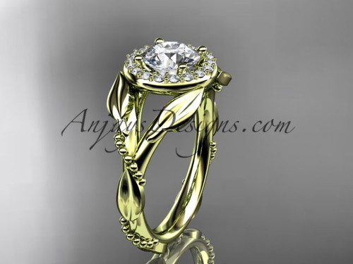 Moissanite Yellow Gold Leaf Halo Engagement Ring ADLR328