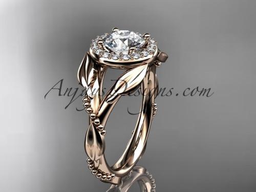 Moissanite Pink Gold Leaf Halo Engagement Ring ADLR328