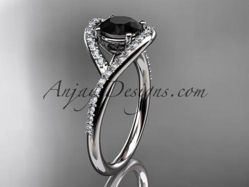platinum diamond wedding ring, engagement ring with a Black Diamond center stone ADLR383