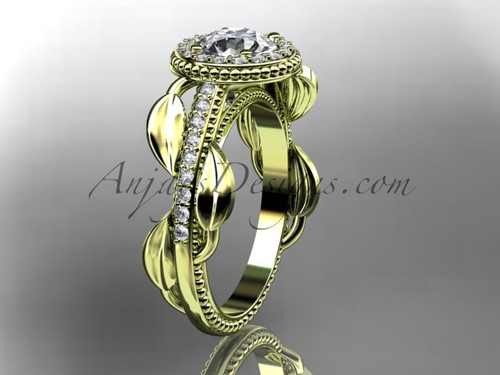 """14kt yellow gold diamond unique engagement ring, wedding ring with a """"Forever One"""" Moissanite center stone ADLR229"""