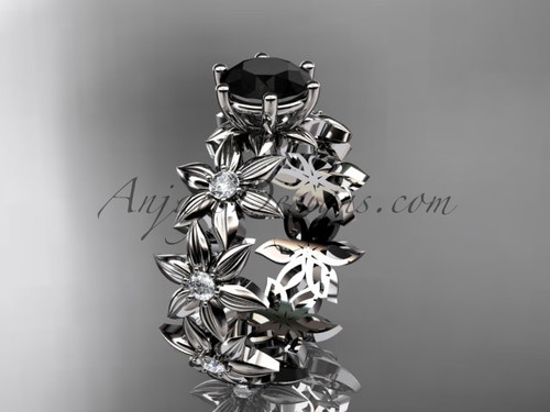 Unique Wedding Rings 14k yellow gold Black Diamond Flower Ring ADLR339