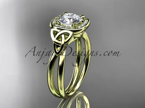 14kt yellow gold moissanite celtic engagement ring CT7330