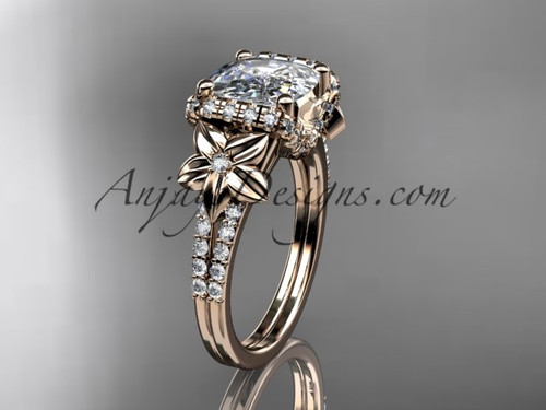 14kt rose gold diamond floral wedding ring, engagement ring with cushion cut moissanite ADLR148
