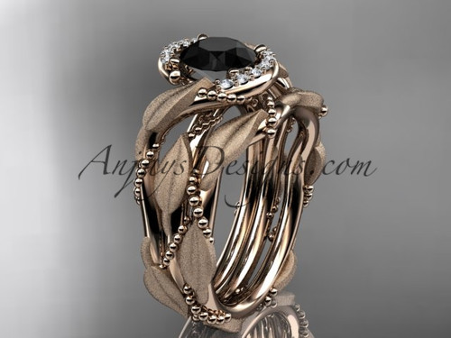14kt rose gold diamond leaf and vine wedding ring, engagement set with a Black Diamond center stone ADLR65S