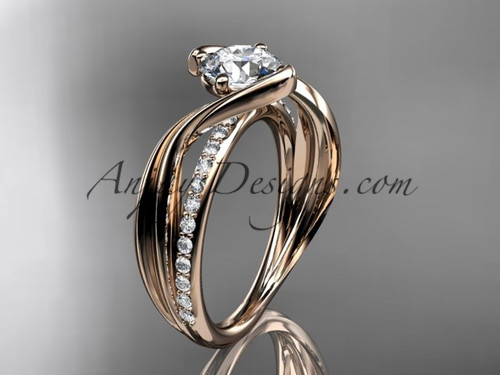 "14kt rose gold diamond leaf and vine wedding ring, engagement ring with  ""Forever One"" Moissanite center stone ADLR78"
