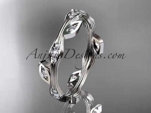 Stunning Diamond Ring Platinum Leaf Wedding Band ADLR41B