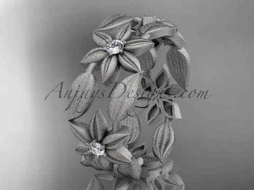 Paltinum diamond leaf and vine, flower wedding ring, engagement ring, wedding band ADLR344