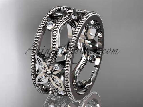 platinum diamond leaf and vine wedding ring, engagement ring, wedding band ADLR9B