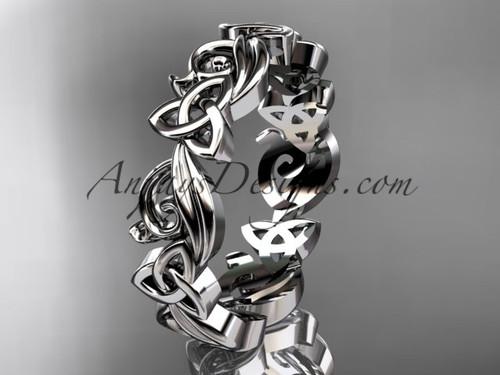 Celtic Wedding Rings no Diamonds White Gold Band CT7191B