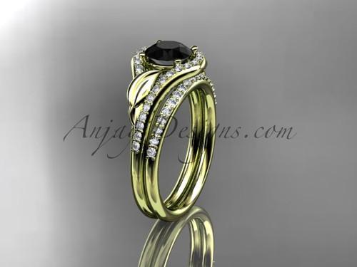 14kt yellow gold diamond leaf wedding set, engagement set with a Black Diamond center stone ADLR334
