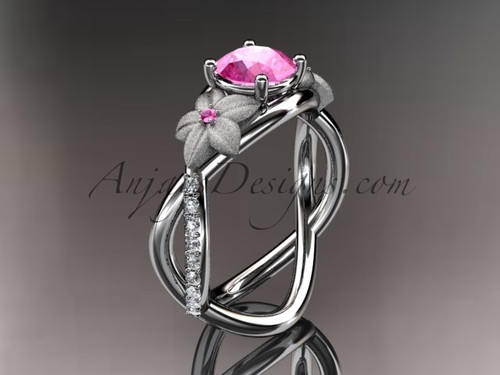 14kt white gold diamond leaf and vine birthstone ring ADLR90 Pink Tourmaline - October\'s birthstone.nature inspired jewelry