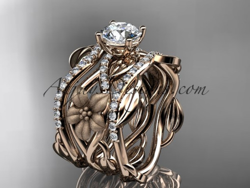 Unique 14kt rose gold floral diamond wedding ring, engagement  ring and double matching band ADLR270S