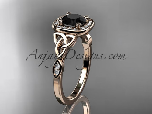 14kt rose gold diamond celtic trinity knot wedding ring, engagement ring with a Black Diamond center stone CT7179