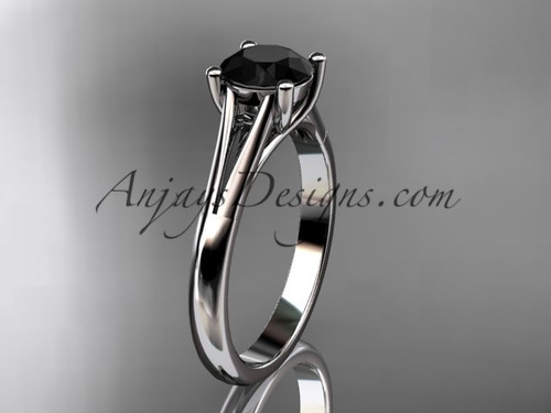 14kt white gold unique engagement ring, wedding ring, solitaire ring with a Black Diamond center stone ADER109