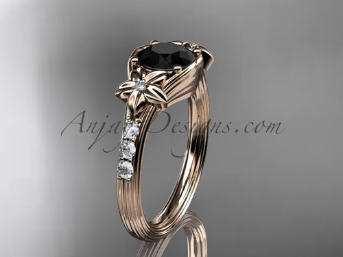 Unique 14k rose gold diamond leaf and vine, floral diamond engagement ring with a Black Diamond center stone ADLR333