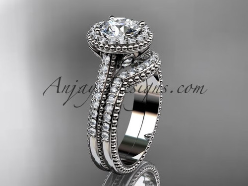 """14kt white gold diamond floral wedding set, engagement ring with a """"Forever One"""" Moissanite center stone ADLR101S"""