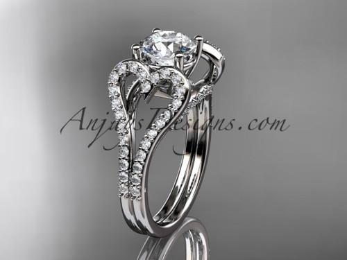 14kt white gold heart  engagement ring, wedding ring, ADER395