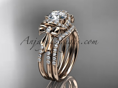 """14kt rose gold diamond unique engagement set, wedding ring, bow ring with a """"Forever One"""" Moissanite center stone ADER155S"""
