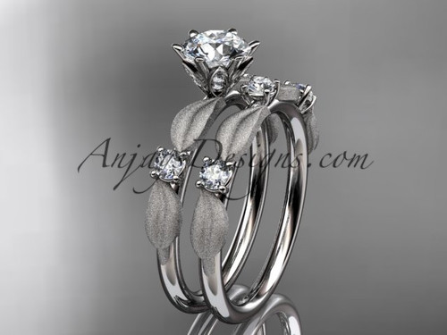 "14kt white gold diamond unique leaf and vine engagement set, wedding set with a ""Forever One"" Moissanite center stone ADER177S"