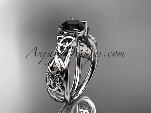 14kt white gold celtic trinity knot  wedding ring, engagement ring with a Black Diamond center stone CT7216