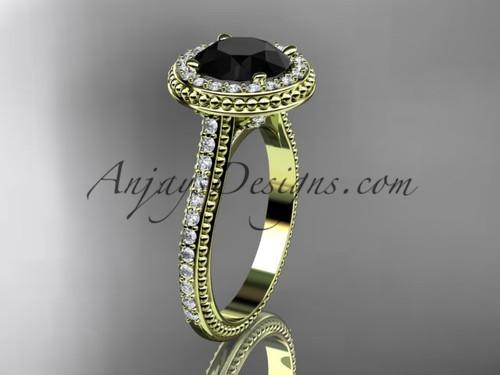 Black Diamond Yellow Gold Antique Engagement Ring ADER97