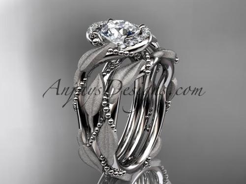 14kt white gold diamond leaf and vine wedding ring, engagement set ADLR65S